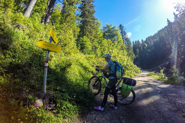 Anja schiebt ihr Bike in einen Wanderweg, jetzt geht es steil bergauf, Mariazell 2.0