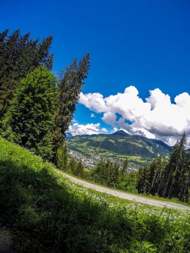 Mountainbiken, Mountainbike-Tour, Kitzbühel, Blick auf Kitzbüheler Horn