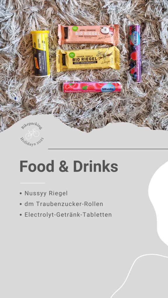 Bikepacking Packliste: Food & Drinks